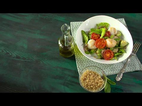 Кулинария: Рецепт салата с киноа и морским гребешком в мультиварке от Константина Ивлева
